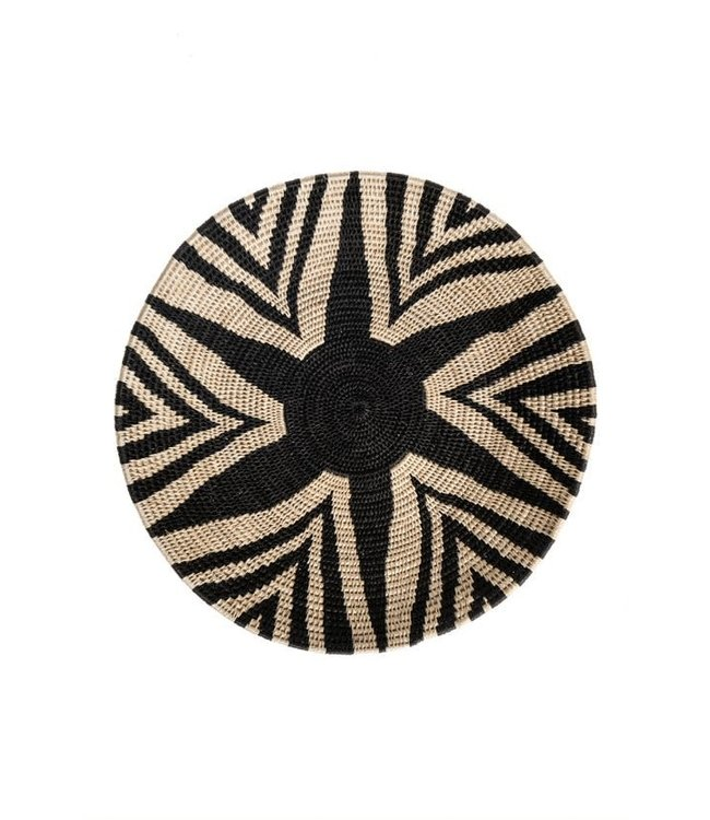 Sisal mand Zienzele zwart/wit Ø40 cm #682