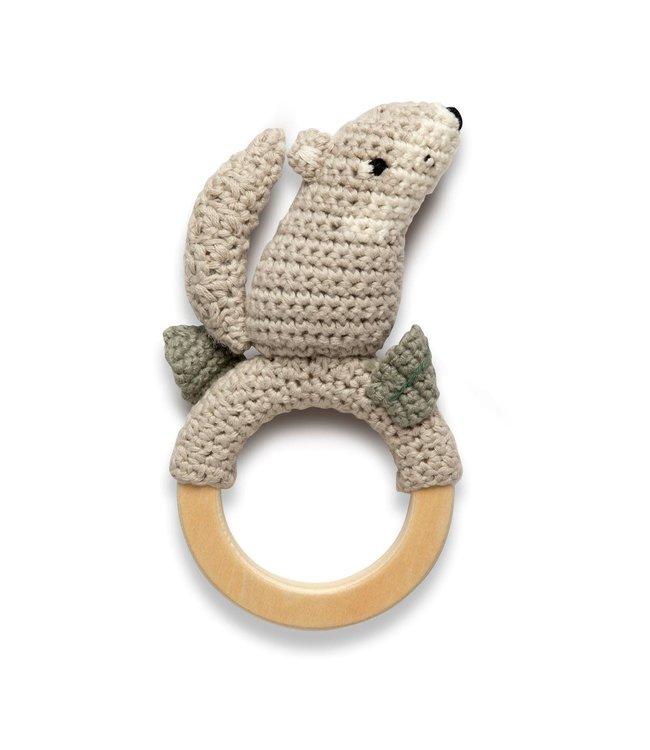 Sebra Crochet rattle on ring - moon the wolf