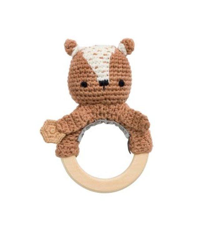 Crochet rattle - milo the bear