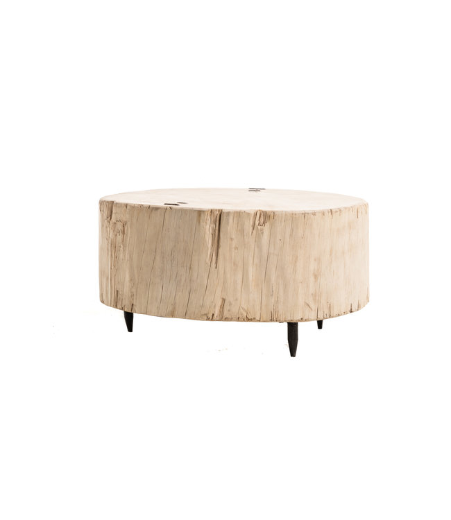 Tree trunk coffee table with metal legs #6