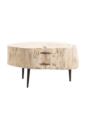 Boomstam salontafel metalen poten #5- Ø60-75 x H42 cm