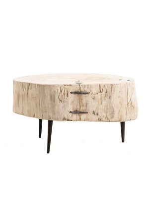 Tree trunk coffee table with metal legs #5- Ø60-75 x H42 cm