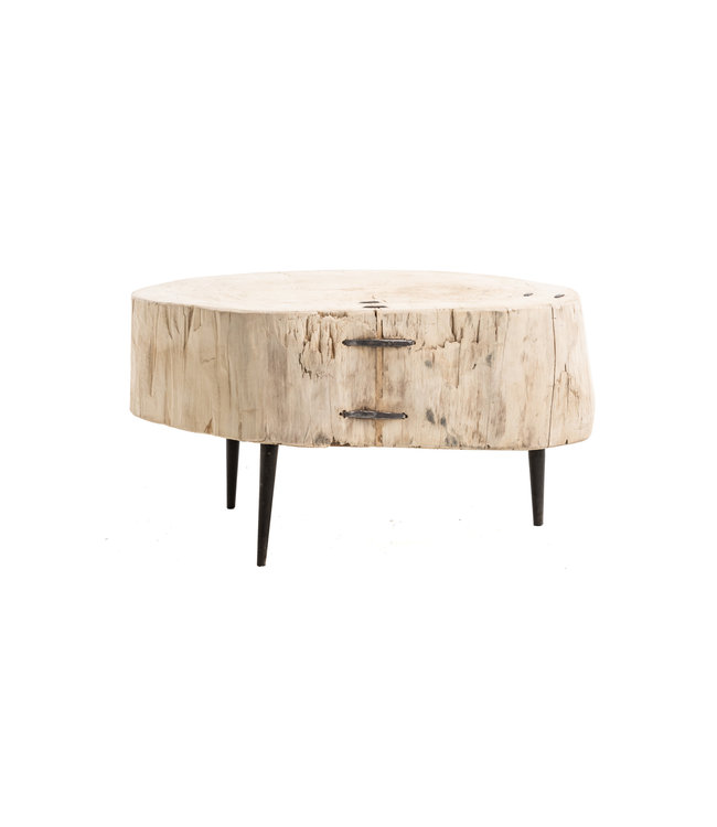 Tree trunk coffee table with metal legs #5