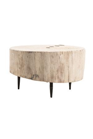 Boomstam salontafel metalen poten #4- Ø60-72 x H42 cm