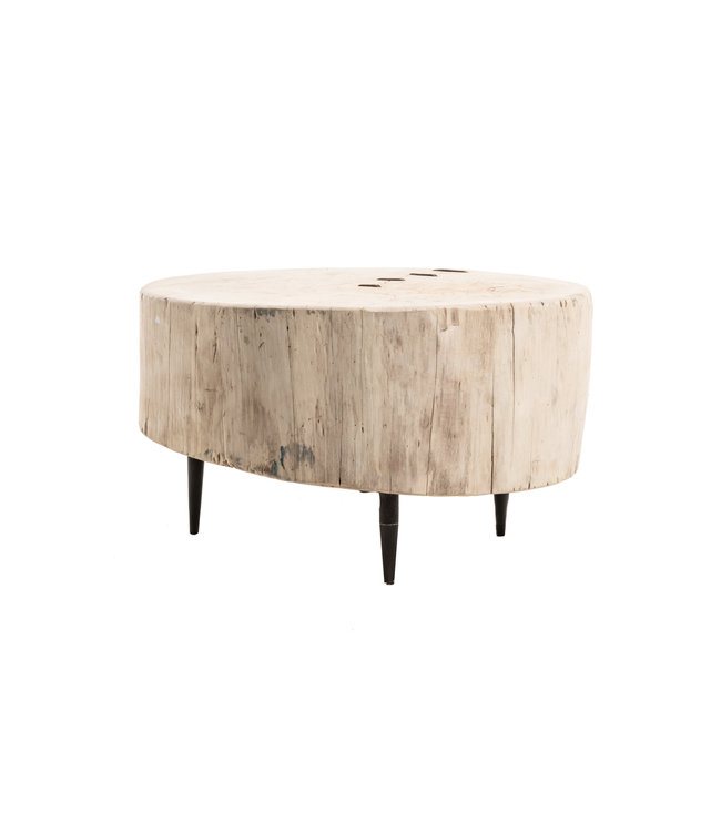 Tree trunk coffee table with metal legs #4