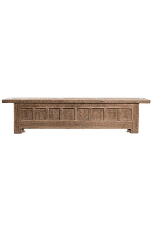 Sculpted bench with 8 doors , elm wood
