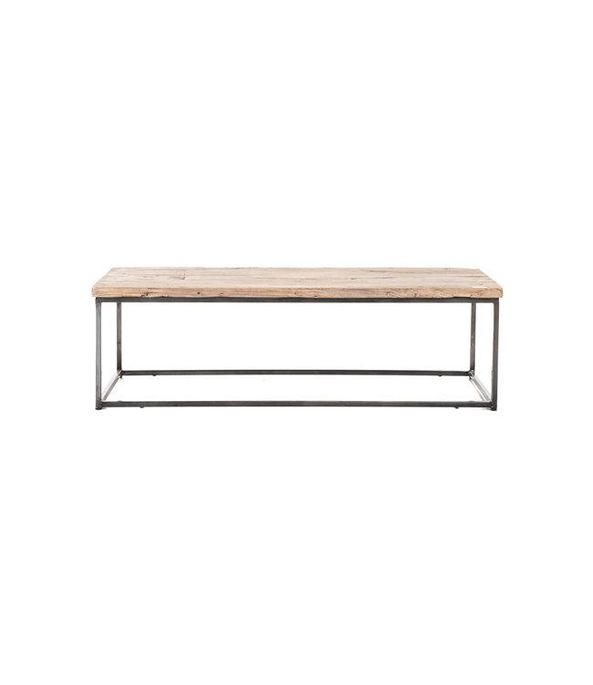 Coffee table elm wood with metal legs #1
