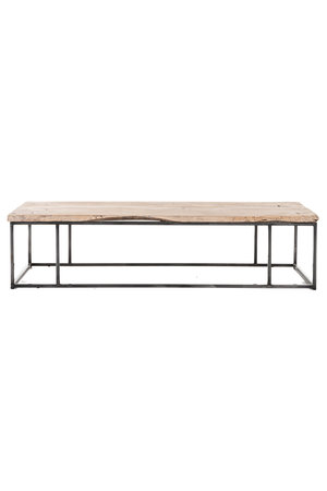 Coffe table elm wood with metal legs #2 - L177 x B66 x H43 cm