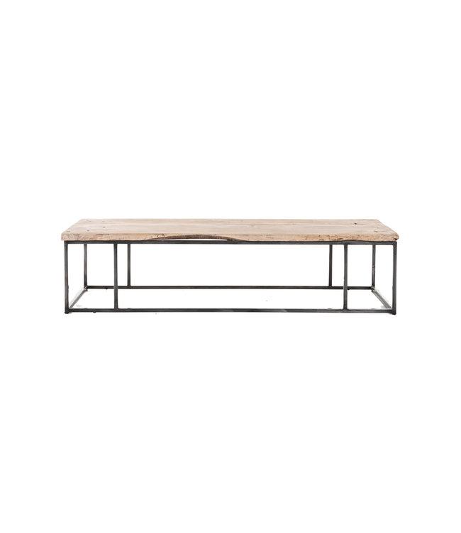 Coffee table elm wood with metal legs #2