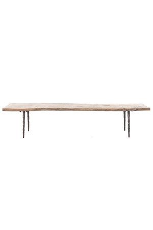 Salontafel olm hout met metalen poten - L182 x B56 x H38 cm