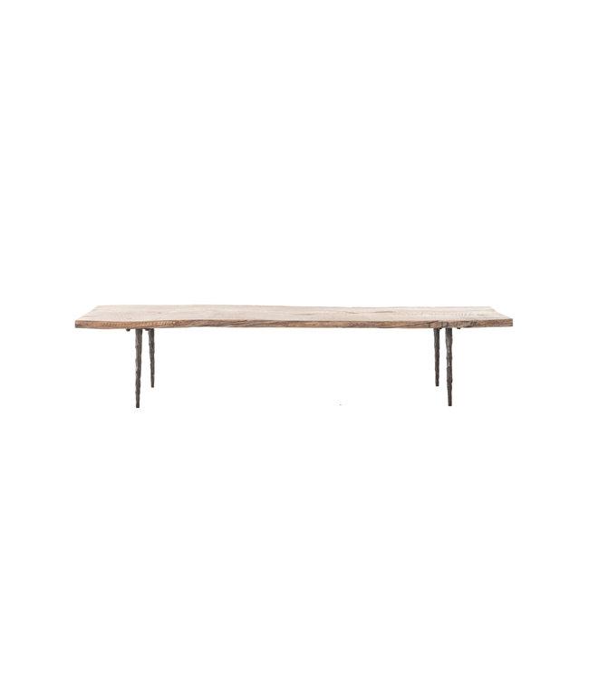 Coffee table elm wood with metal legs - L182 x B56 x H38 cm