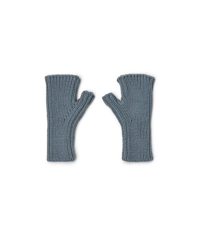Finn fingerless mittens - whale blue