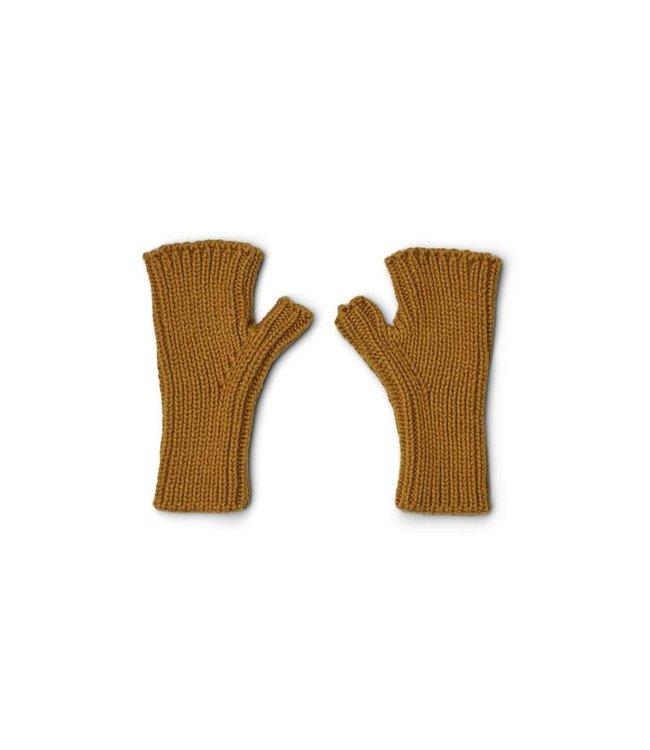 Finn fingerless mittens - golden caramel