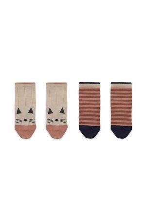 Liewood Silas cotton socks - 2 pack - cat/stripe coral blush