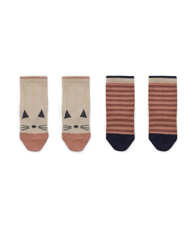 Silas cotton socks - 2 pack - cat/stripe coral blush