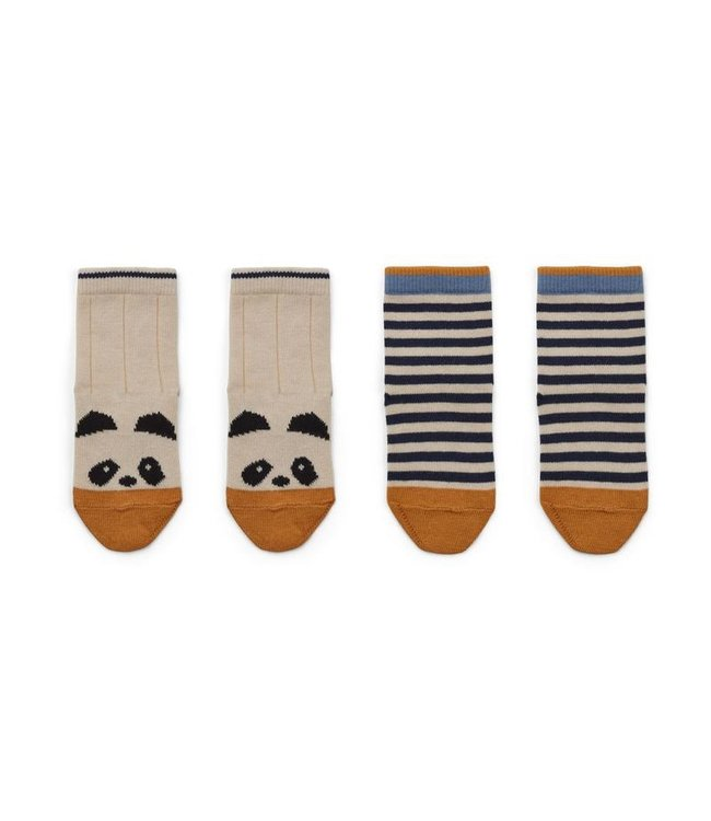 Liewood Silas cotton socks - 2 pack - panda/stripe ecru