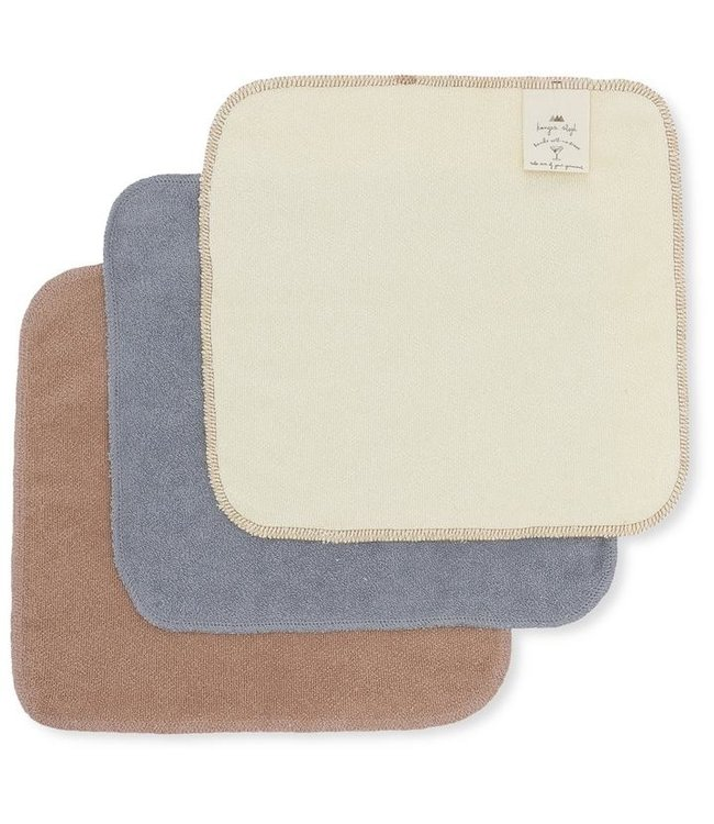 Konges Sløjd 3 Pack terry wash cloths - blue shade