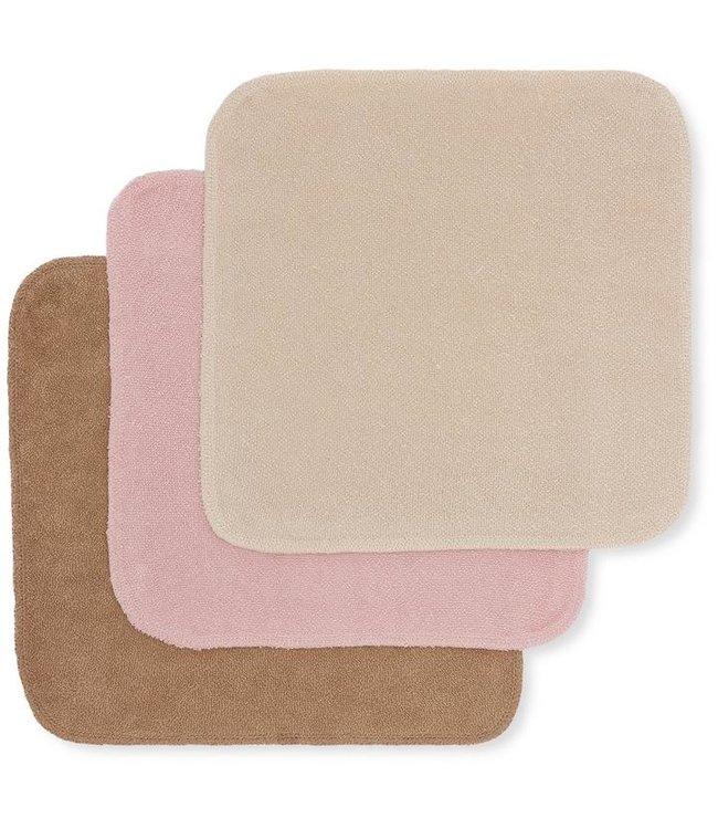 3 Pack terry wash cloths - rosie shade