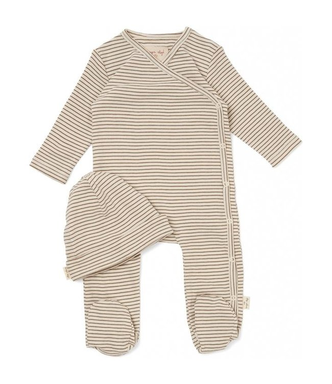 Dio onesie with beanie - capers stripe