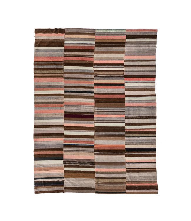 Kelim tapijt, bruin/roze - Turkije - 385 x 291cm