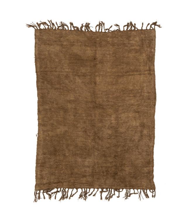 Vintage hennep tapijt, donker mosterd #4 - Turkije - 226 x 164cm