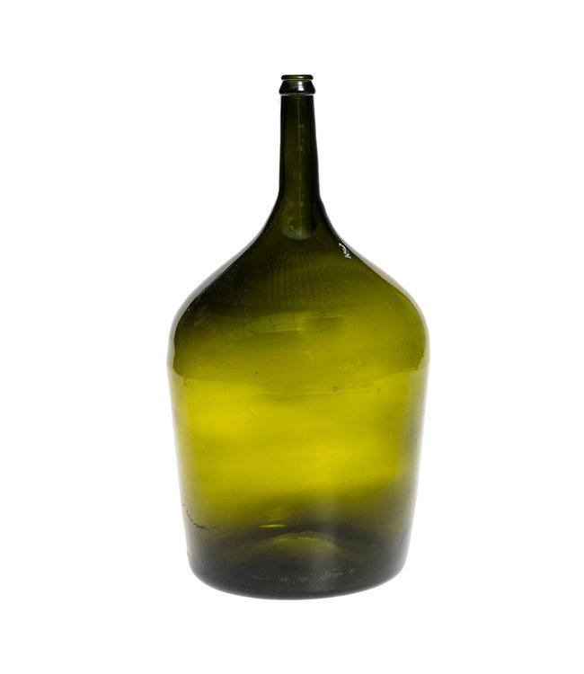 Glazen fles #7 - olijfgroen