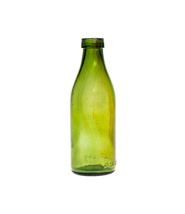 Glazen fles #15 - olijfgroen