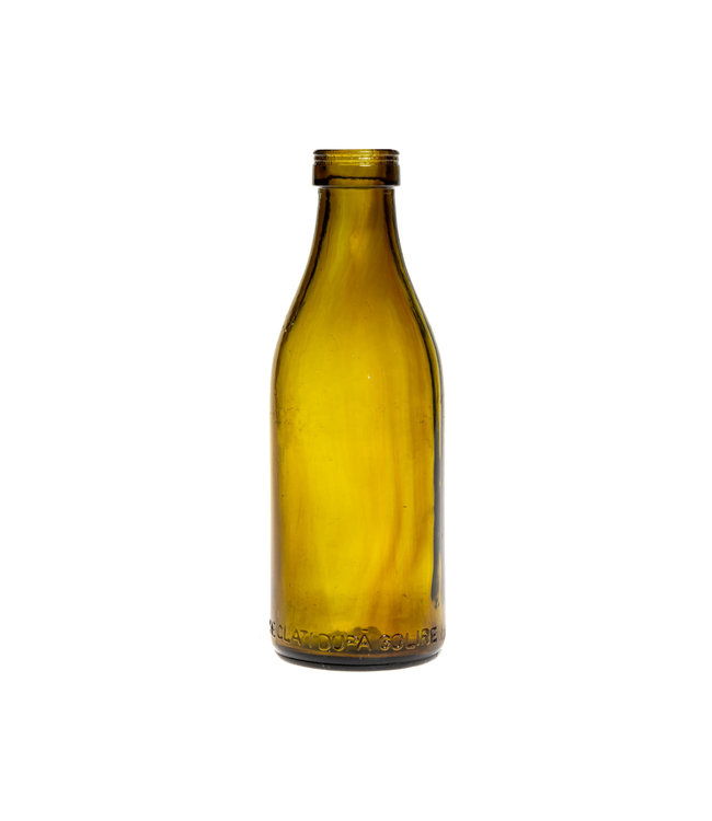 Glazen fles #18 - mosterdgeel