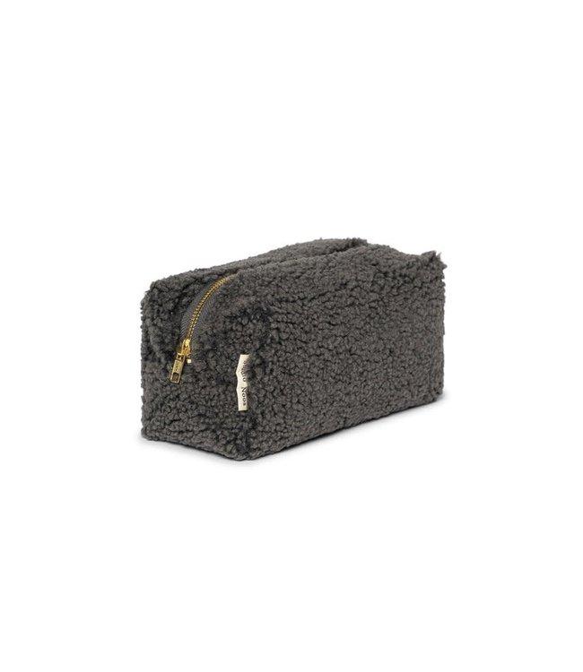 Dark grey teddy pouch