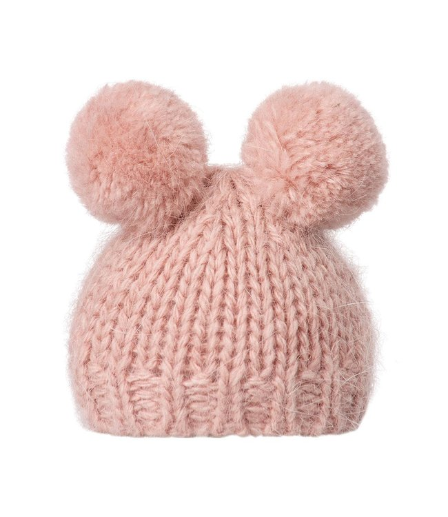 Best friends  knitted hat w. 2 pompom - heather