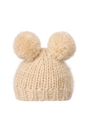 Maileg Best friends  knitted hat w. 2 pompom - cream