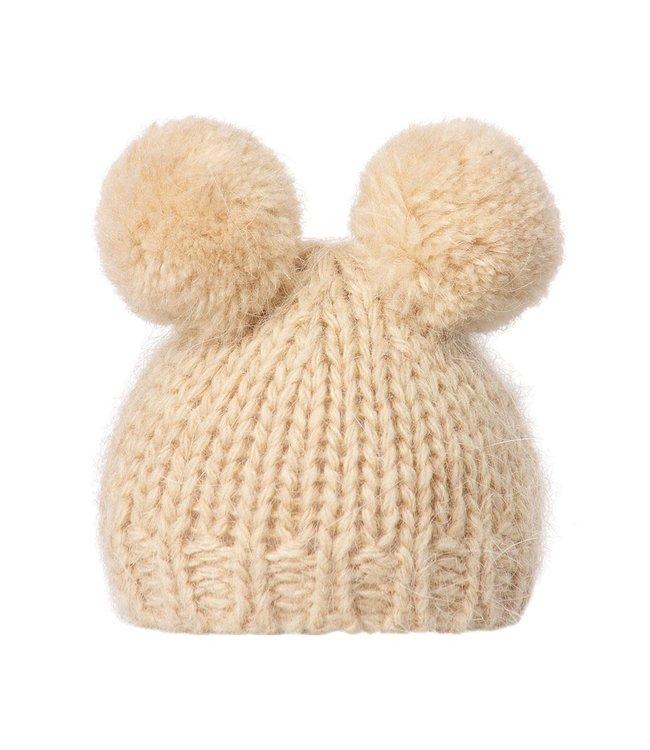 Best friends  knitted hat w. 2 pompom - cream
