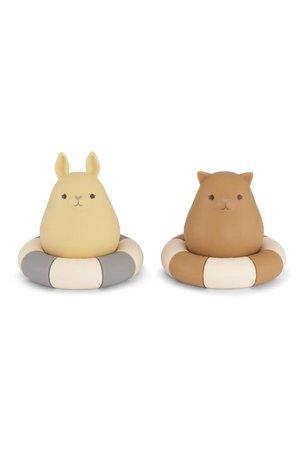 Konges Sløjd 2 Pack silicone bath toys swim ring - blue/almond