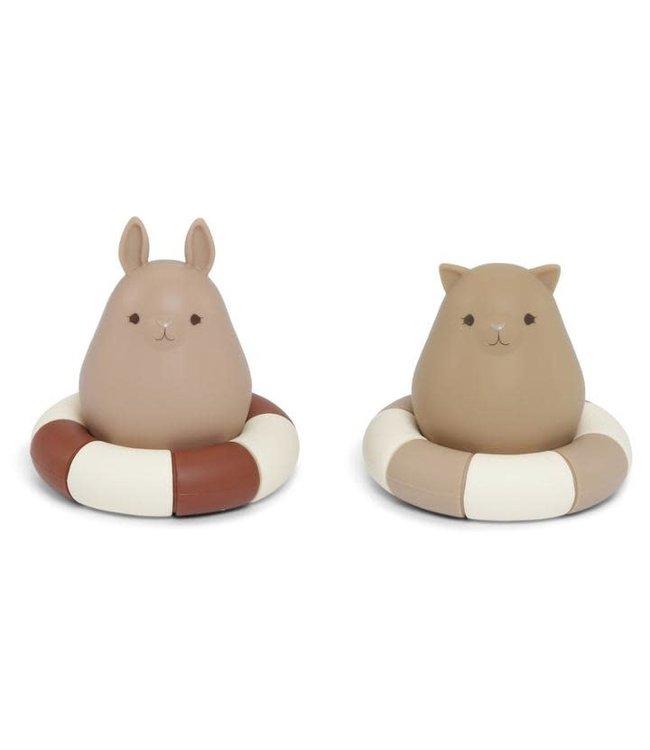 Konges Sløjd 2 Pack silicone bath toys swim ring - bark/almond