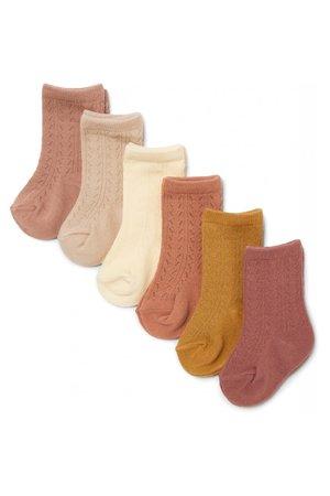 Konges Sløjd 6 pack pointelle socks - sahara shades