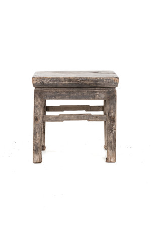 Old square side table elm wood #8