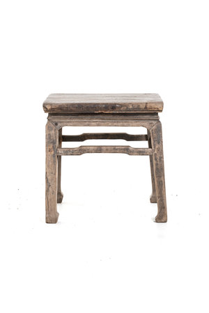 Old square side table elm wood #9