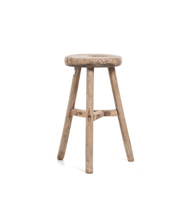 Elm wood antique round stool #27