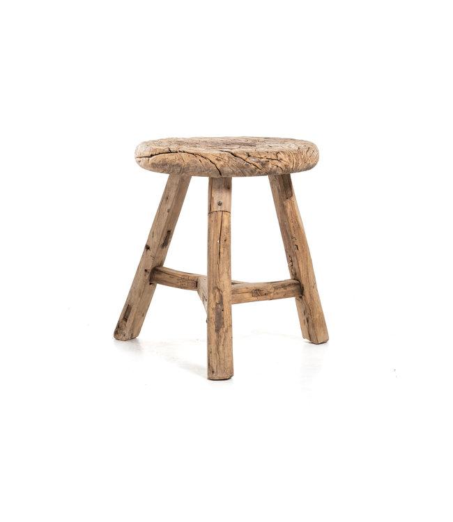 Elm wood antique round stool #28