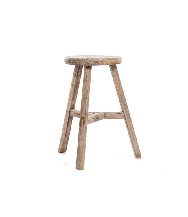 Elm wood antique round stool  #29