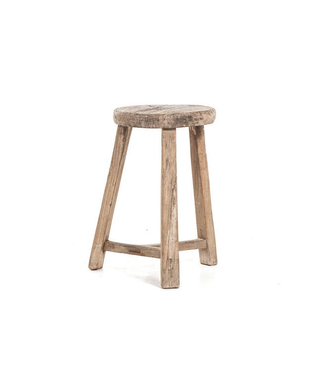 Elm wood antique round stool #30
