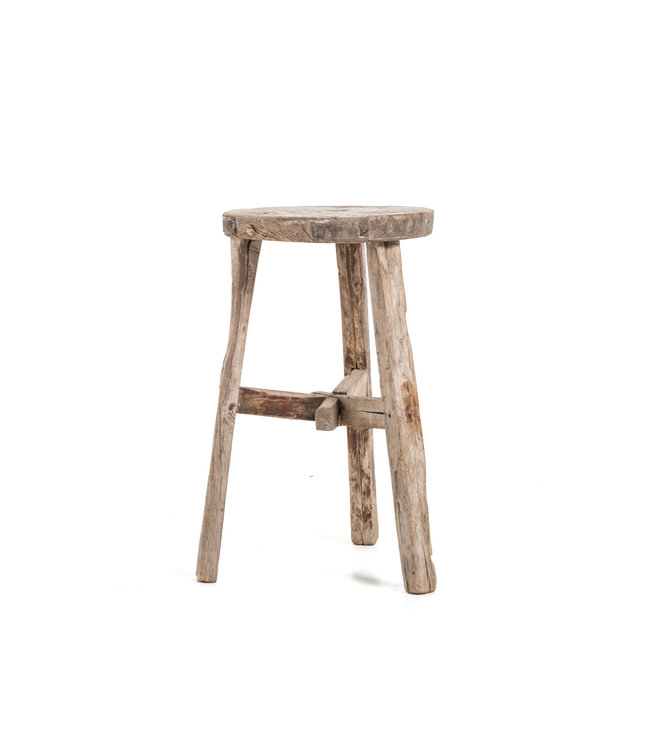 Elm wood antique round stool #31