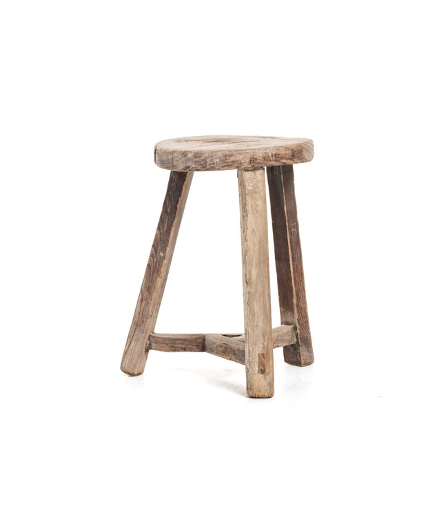 Elm wood antique stool round #32