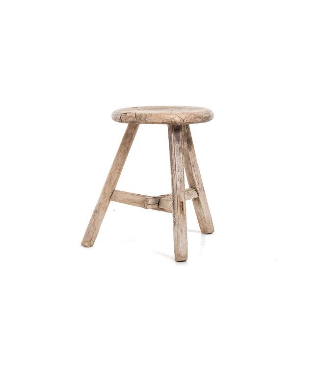 Elm wood antique stool round #33