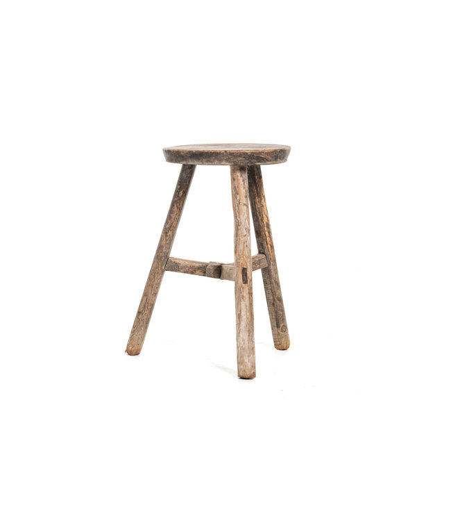 Elm wood antique stool round #34