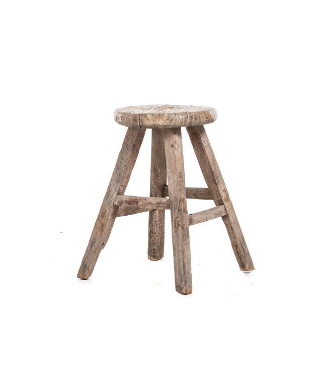 Elm wood antique stool round #36