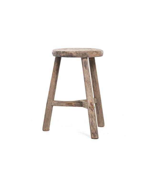 Elm wood antique stool round #37