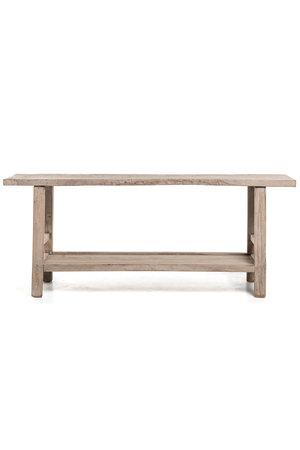 Sidetable met extra legplank, verweerd grijs olmhout - 188 cm