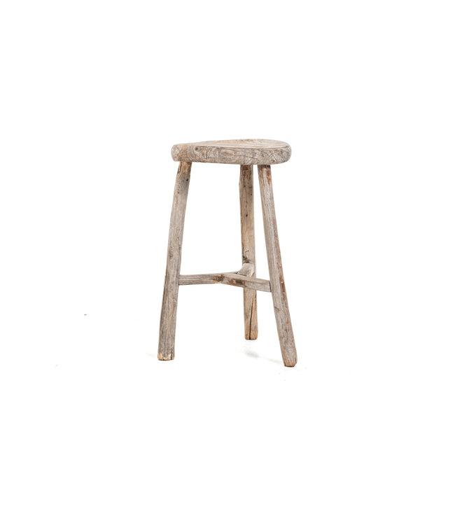 Elm wood antique round stool #35
