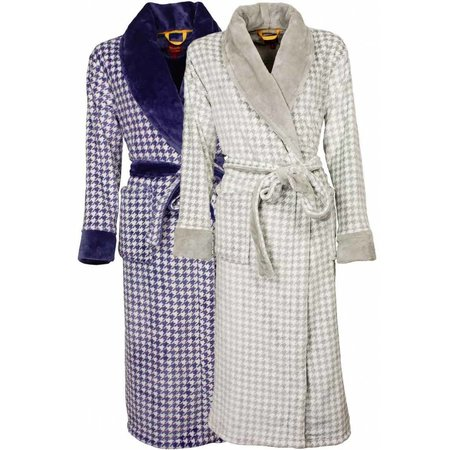 Tenderness badjas dames fleece pied-de-poule blauw